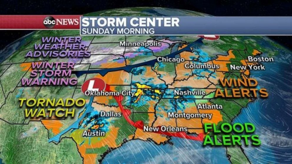 The most immediate threatening weather though is in the southern U.S. where a Tornado Watch is in effect this morning for parts of Texas, including Austin, Waco and San Antonio.The most immediate threatening weather though is in the southern U.S. where a Tornado Watch is in effect this morning for parts of Texas, including Austin, Waco and San Antonio. ABC News