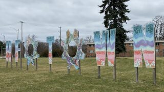 REO Town Sign on lot that will be redeveloped