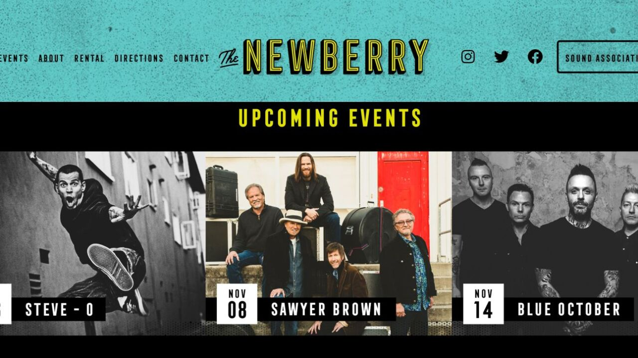 The Newberry announces first acts: Sawyer Brown, Blue October, and Steve-O