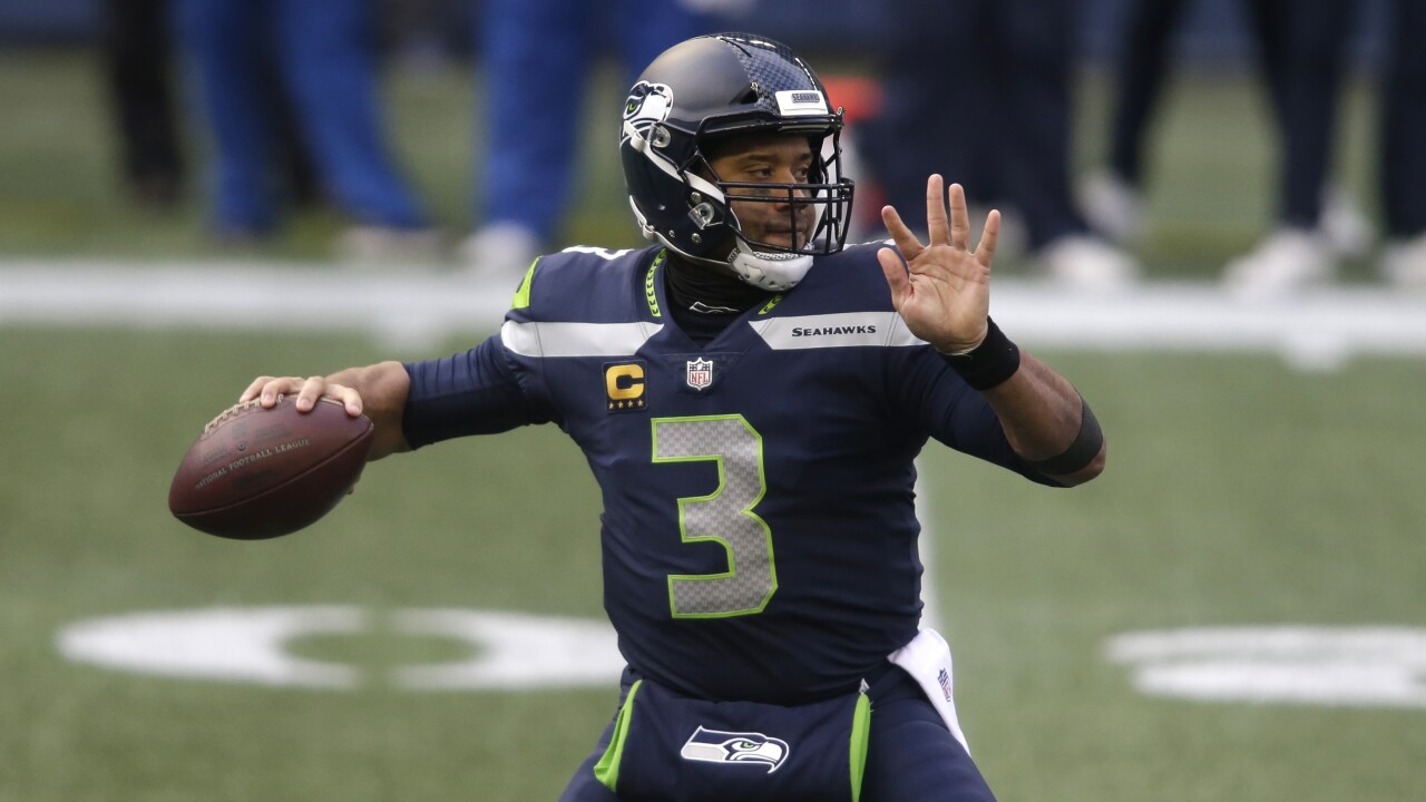 Seattle Seahawks QB Russell Wilson throws in 2020