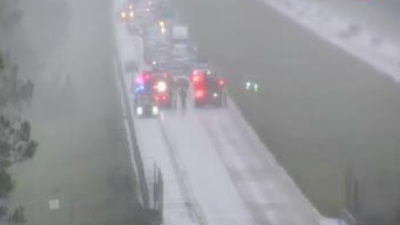 I-75 northbound lanes closed due to car on fire