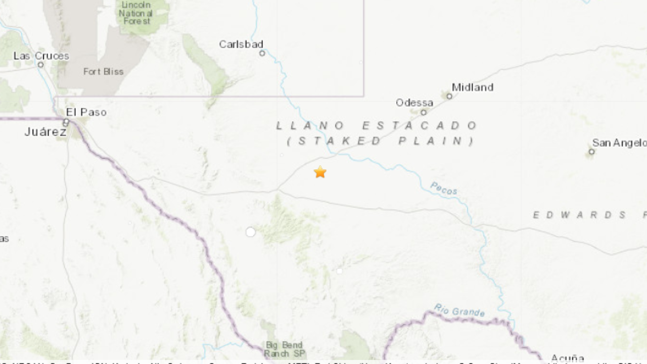 Three earthquakes reported in west Texas on Sunday