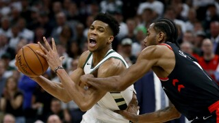 Giannis Antetokounmpo and Kawhi Leonard during Game 1 of the Eastern Conference Finals