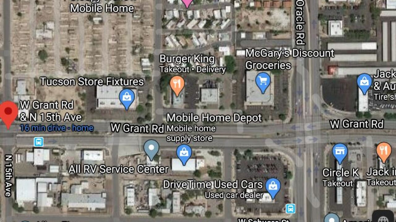Westbound Grant Road was shut down from Oracle to 15th Avenue due to a serious injure wreck Wednesday. Photo via Google Maps.