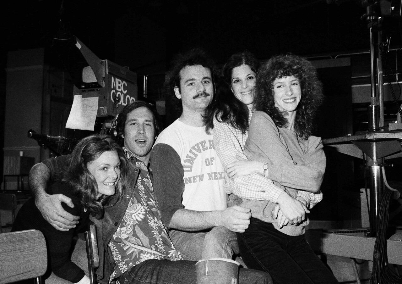Bill Murray, Chevy Chase, Gilda Radner, Jane Curtain and Laraine Newman on set of 'Saturday Night Live' in 1978