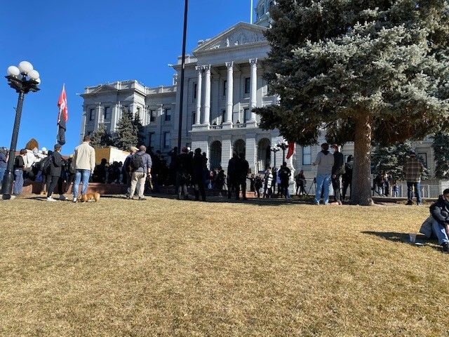 Crowd gathers at State Capitol