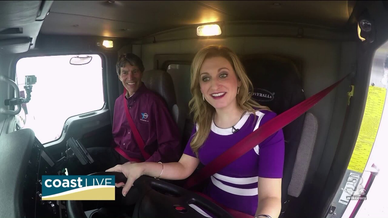 Cheryl learns about local trucking careers by getting behind the wheel on CoastLive