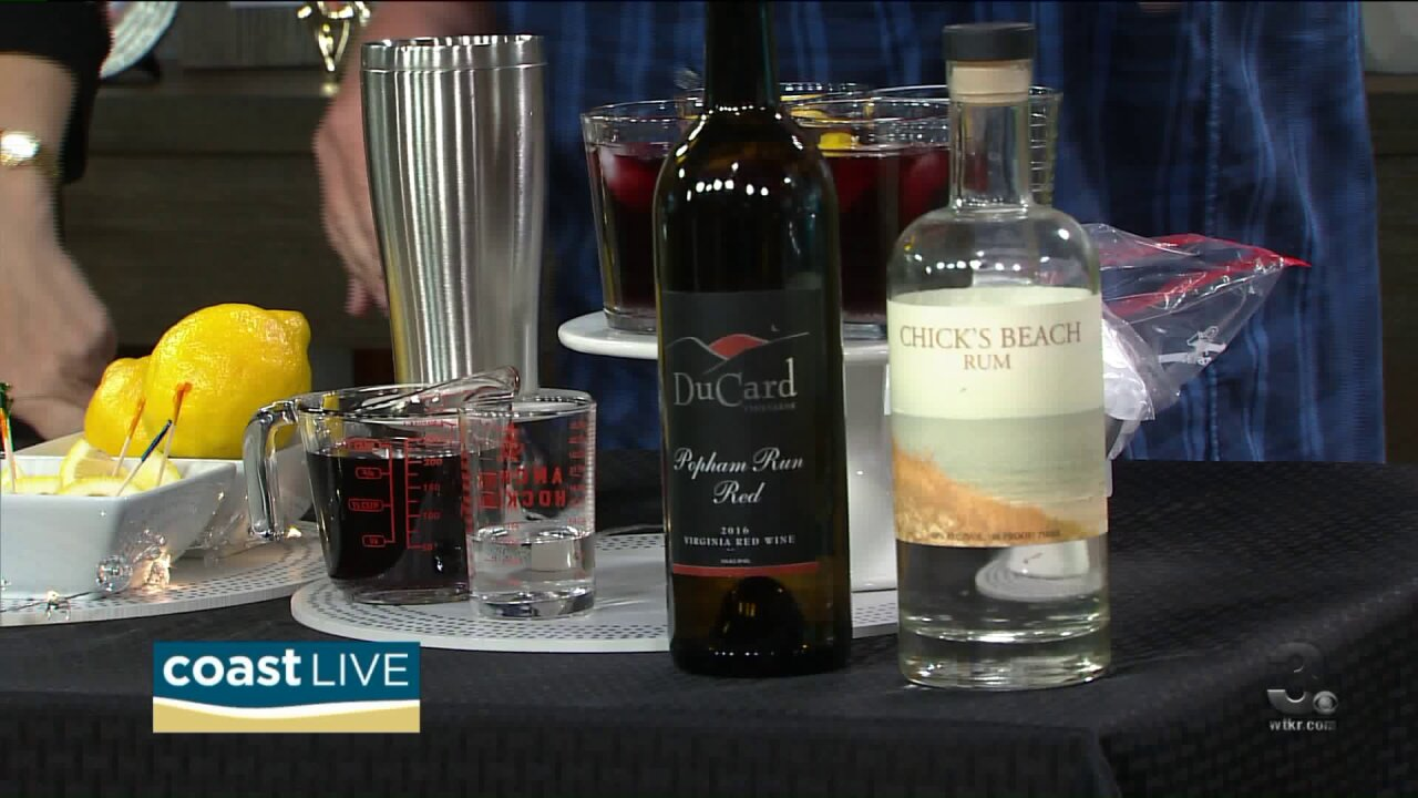 Making a red wine cocktail and spicy hummus with Chef Patrick on Coast Live