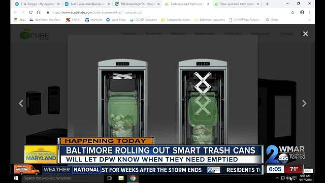 High tech 'smart trash cans' coming to Baltimore
