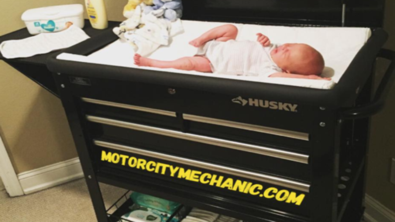 A Dad Made A Changing Table Out Of A Tool Cart And It's As Cute As It Is Practical