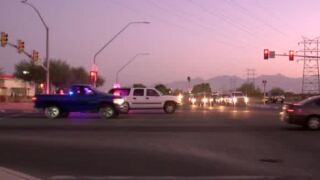 A woman was seriously injured Tuesday morning after a car hit her near Valencia and Swan Roads.