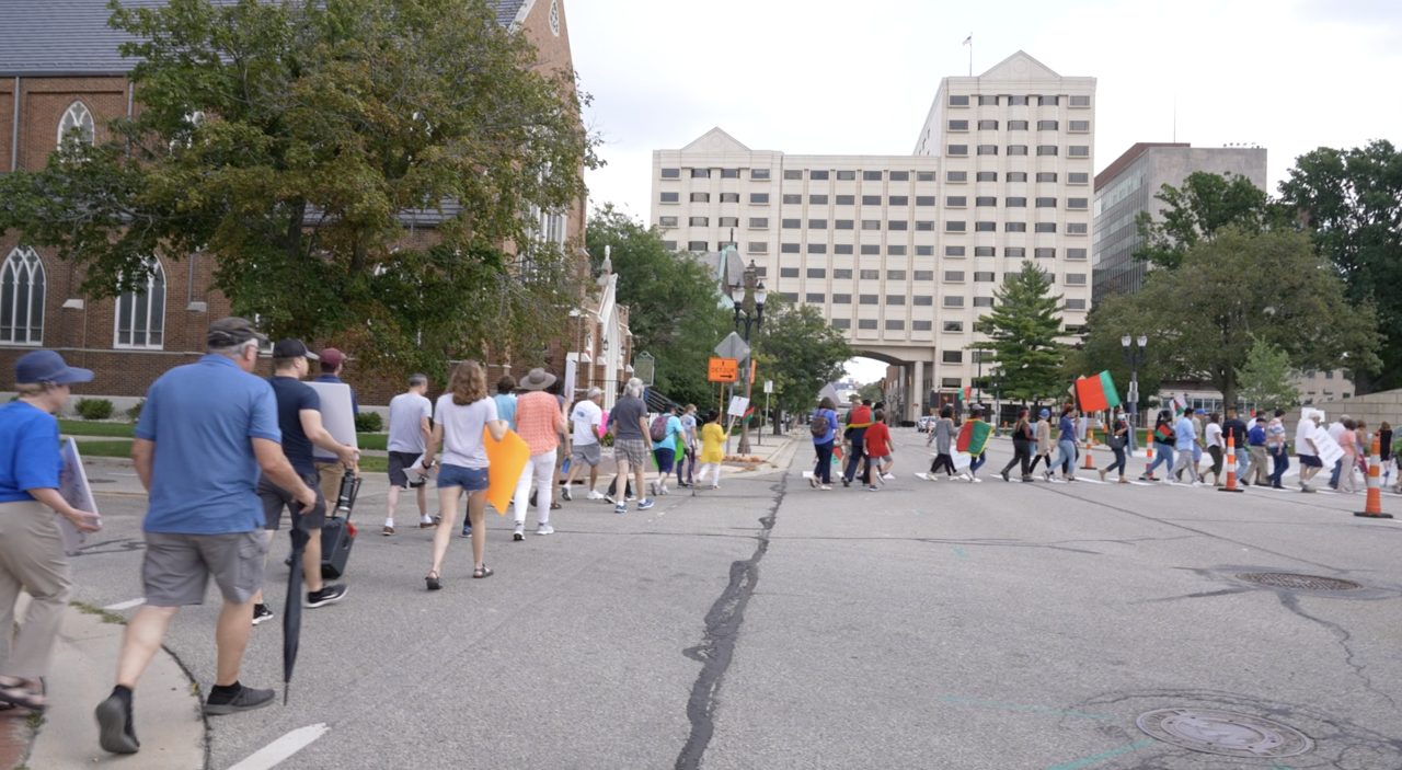 People walking from First Presbyterian Church, to the capitol for the prayer vigil for Afghanistan. dsd