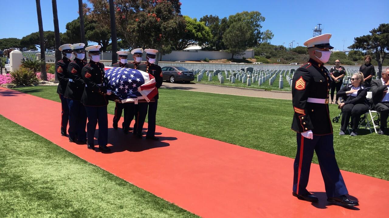 Marine PFC John Middleswart buried at Ft. Rosecrans.JPG