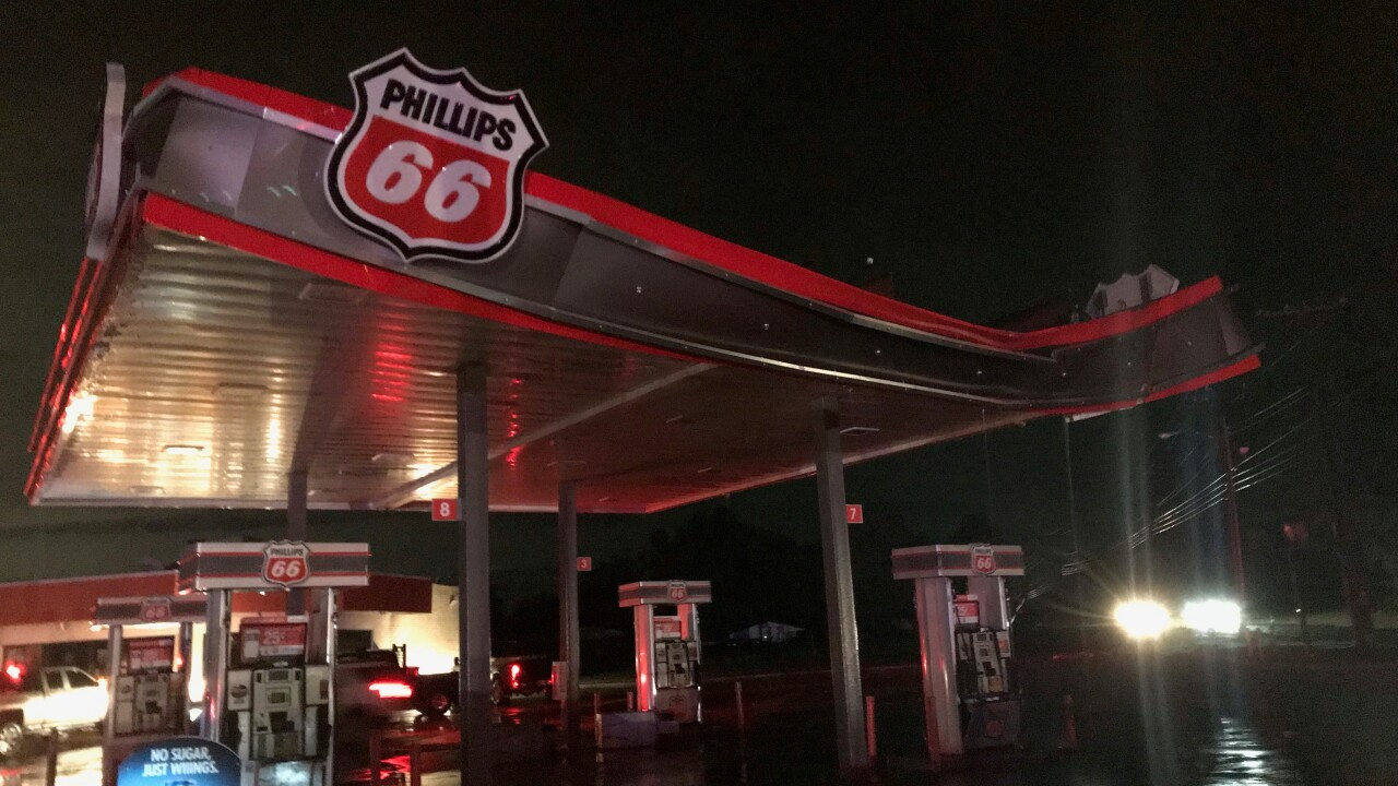 Severe storm damage to a Phillips 66 gas station