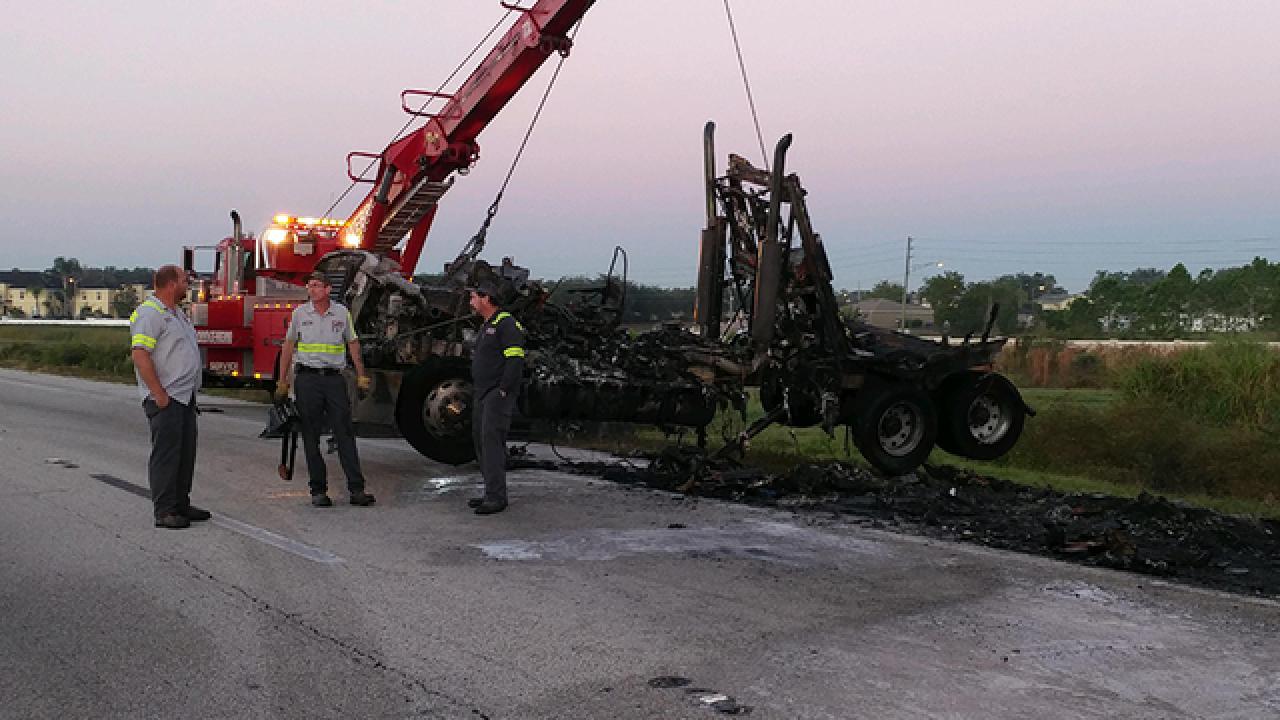 Sweet potato truck fire closes lanes on I-4 WB