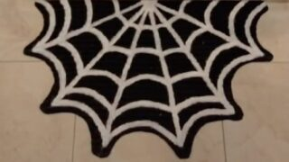 Turn A Dollar Store Rug Into A Spooky Spider Web Welcome Mat With This Easy Tik Tok DIY