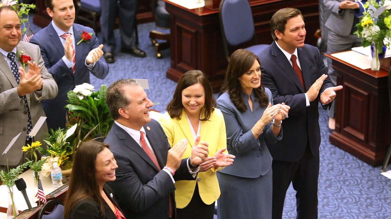 Nikki Fried with Jimmy Patronis, Ashley Moody, Lt. Gov. Jeanette Nunez and Gov. Ron Desantis in March 2019
