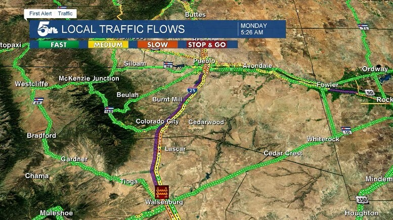 I-25 closed from Pueblo to Walsenburg