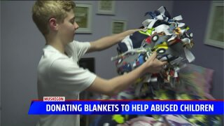 Muskegon teen donates handmade blankets to child abuse center