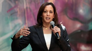 Democratic presidential candidate and California senator Kamala Harris speaks to guests during campaign stop at the Convivum Urban Farmstead on June 10, 2019 in Dubuque, Iowa. (Photo by Scott Olson/Getty Images)