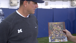 Jim Harbaugh recaps Michigan win over MSU, talks matching pajama family photo shoot with WXYZ