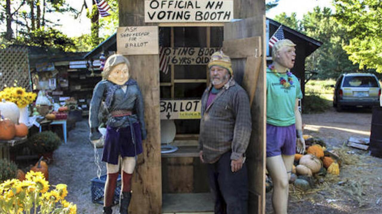 Farm stand turns outhouse into voting booth