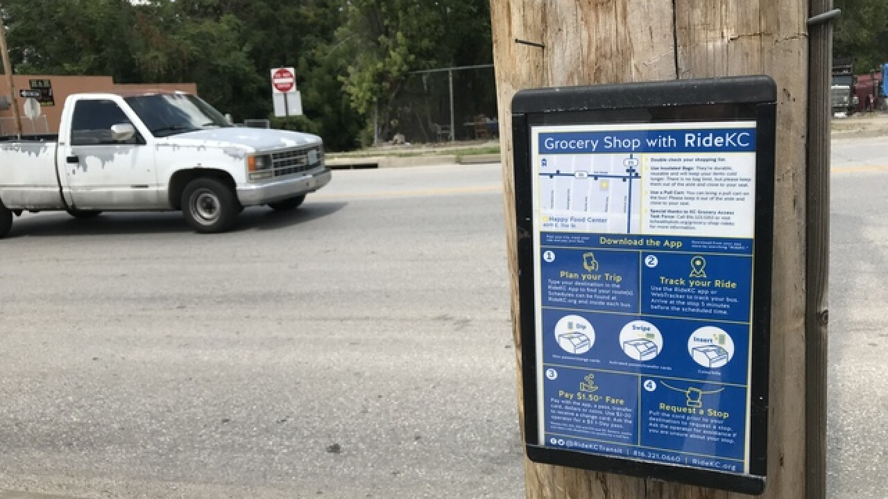 New signs help bus commuters find grocery stores