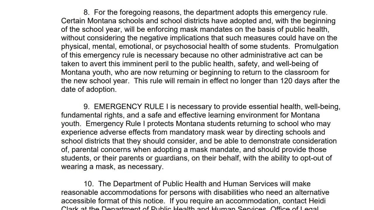 DPHHS issues emergency rule regarding mask mandates in Montana public schools