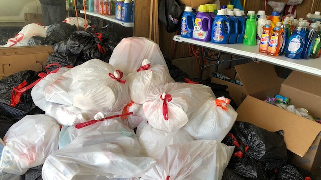 Hygiene supplies collected by KC for Refugees