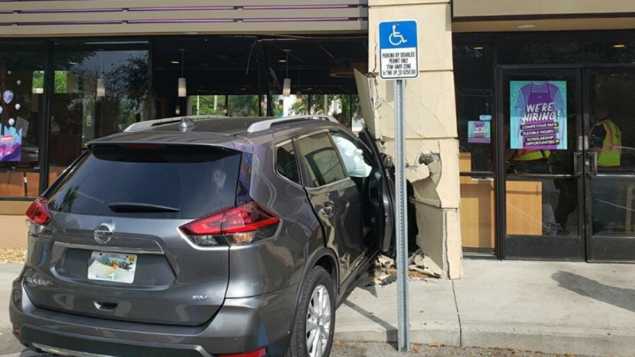 car crashes into Winter Haven Taco Bell