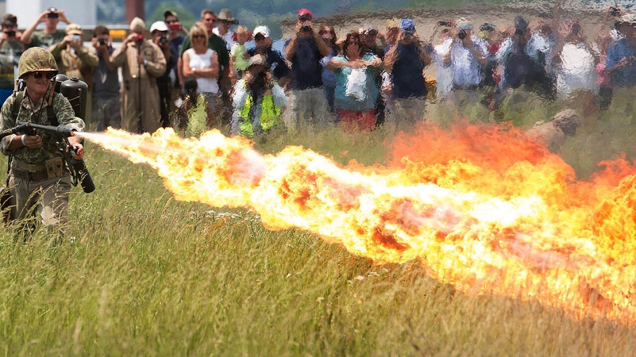 Flamethrowers – given up by the military – are now being sold to the public