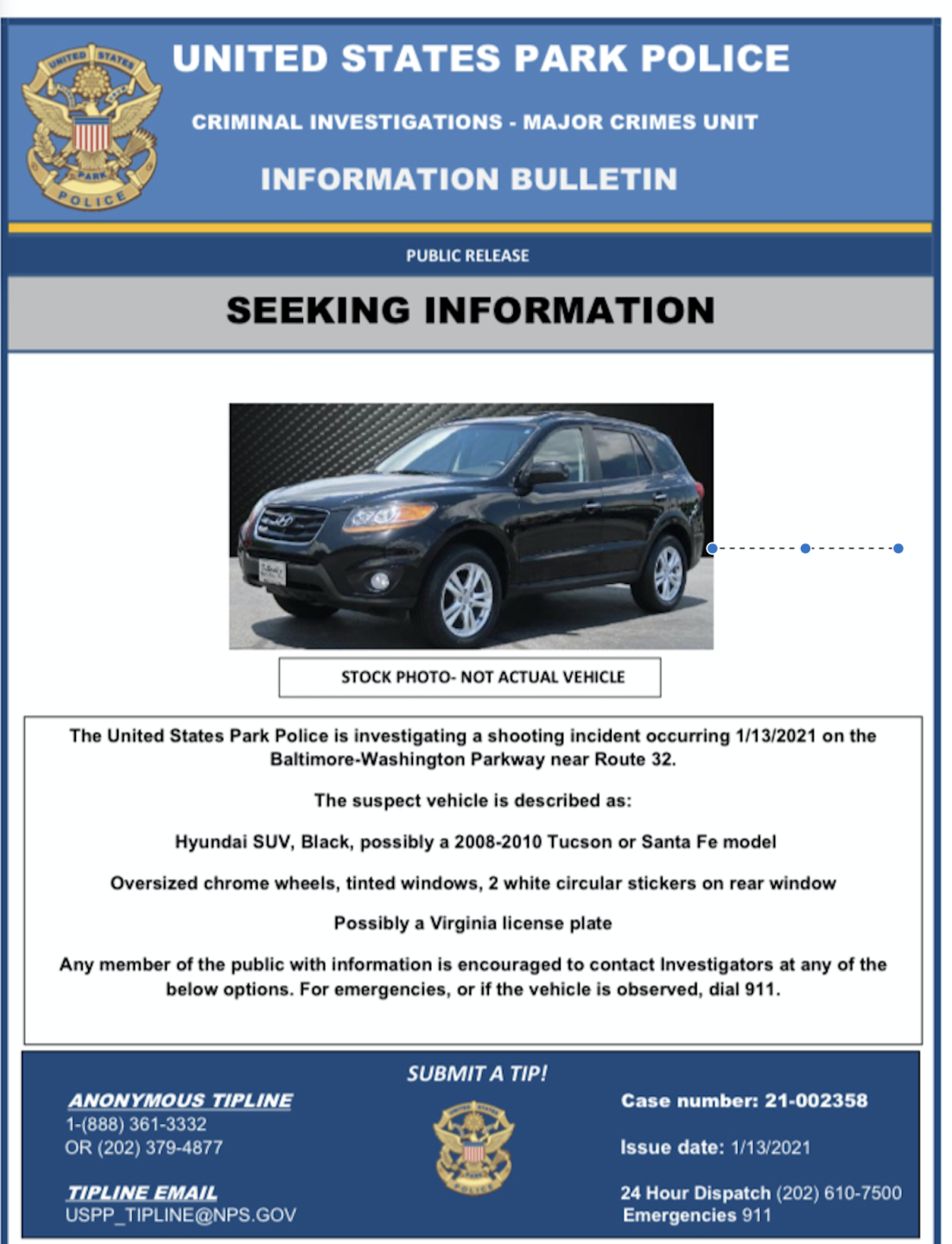 Vehicle wanted in BW Pkwy shooting
