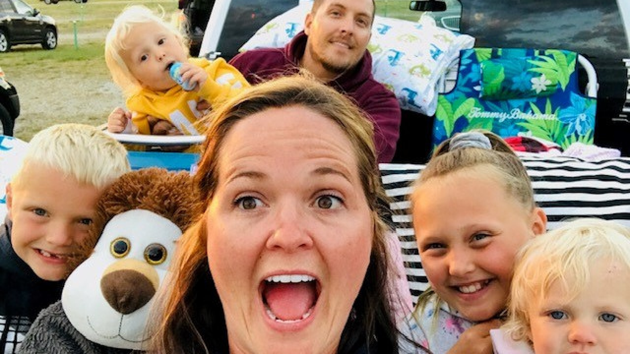 Kendra Bylsma and family at drive-in theater
