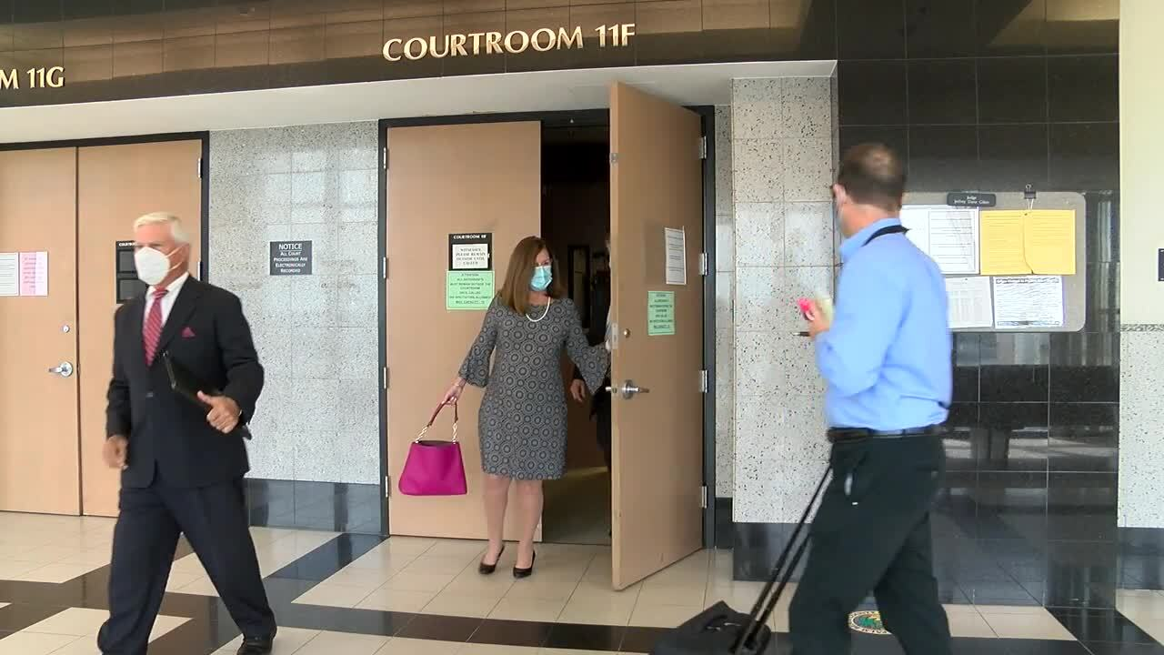 Susan Haynie leaves Palm Beach County courtroom after guilty plea, April 1, 2021