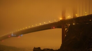 Smoke from California wildfires turned the San Francisco sky bright orange on Wednesday night