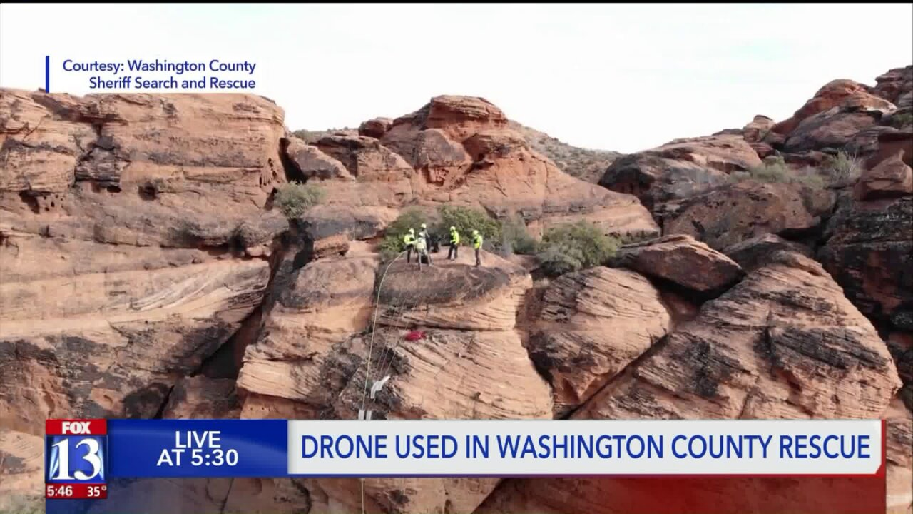 Search and rescue teams use drone to help injured hiker in southern Utah