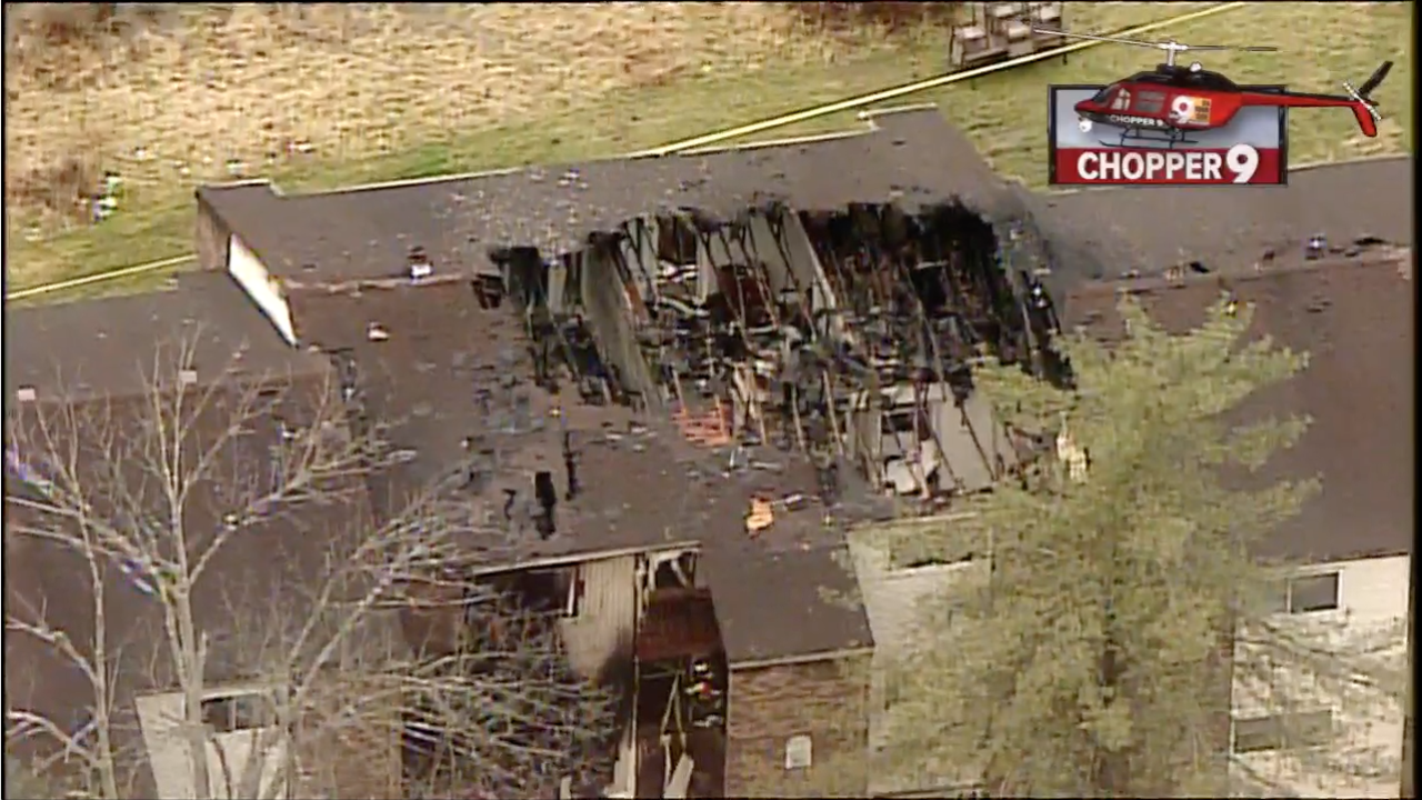 View of the damage and aftermath of Clermont County standoff from Chopper 9