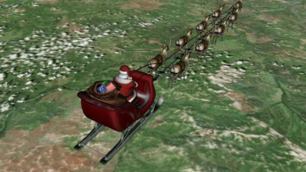 When will Santa arrive in central Indiana?