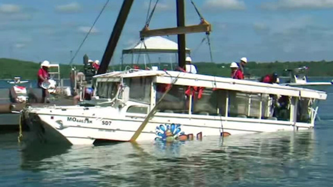 Doc: Duck boat on water in bad wind conditions