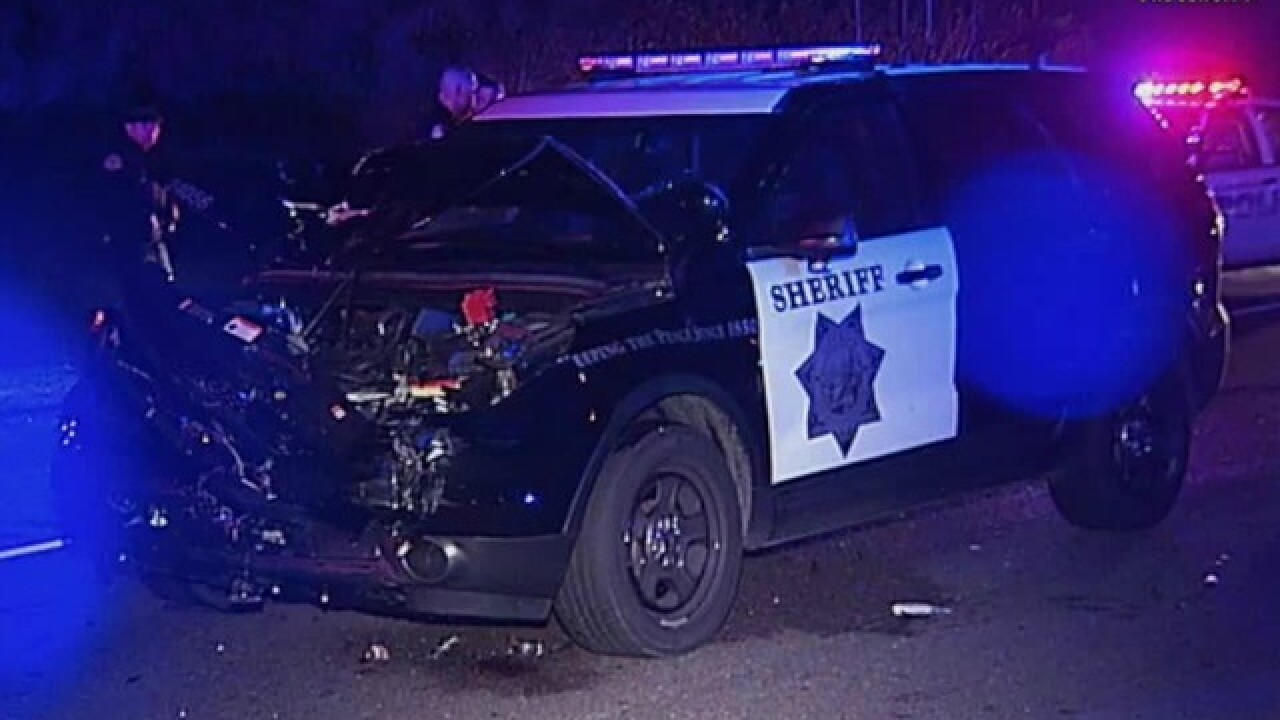 Law enforcement vehicles crash during pursuit