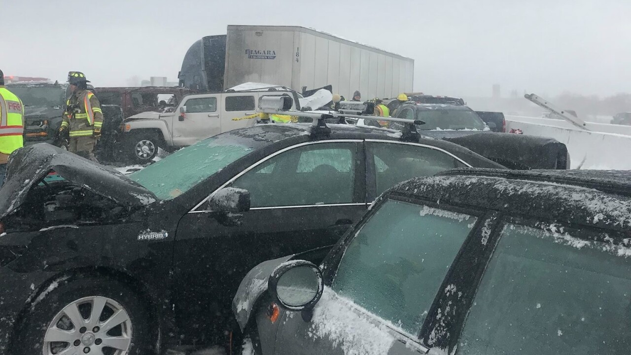 One person killed, dozens injured in 131 car pileup on