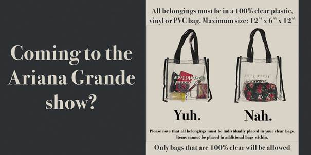 Going to the Ariana Grande show at Fiserv Forum Friday? You'll need a 100 percent clear bag