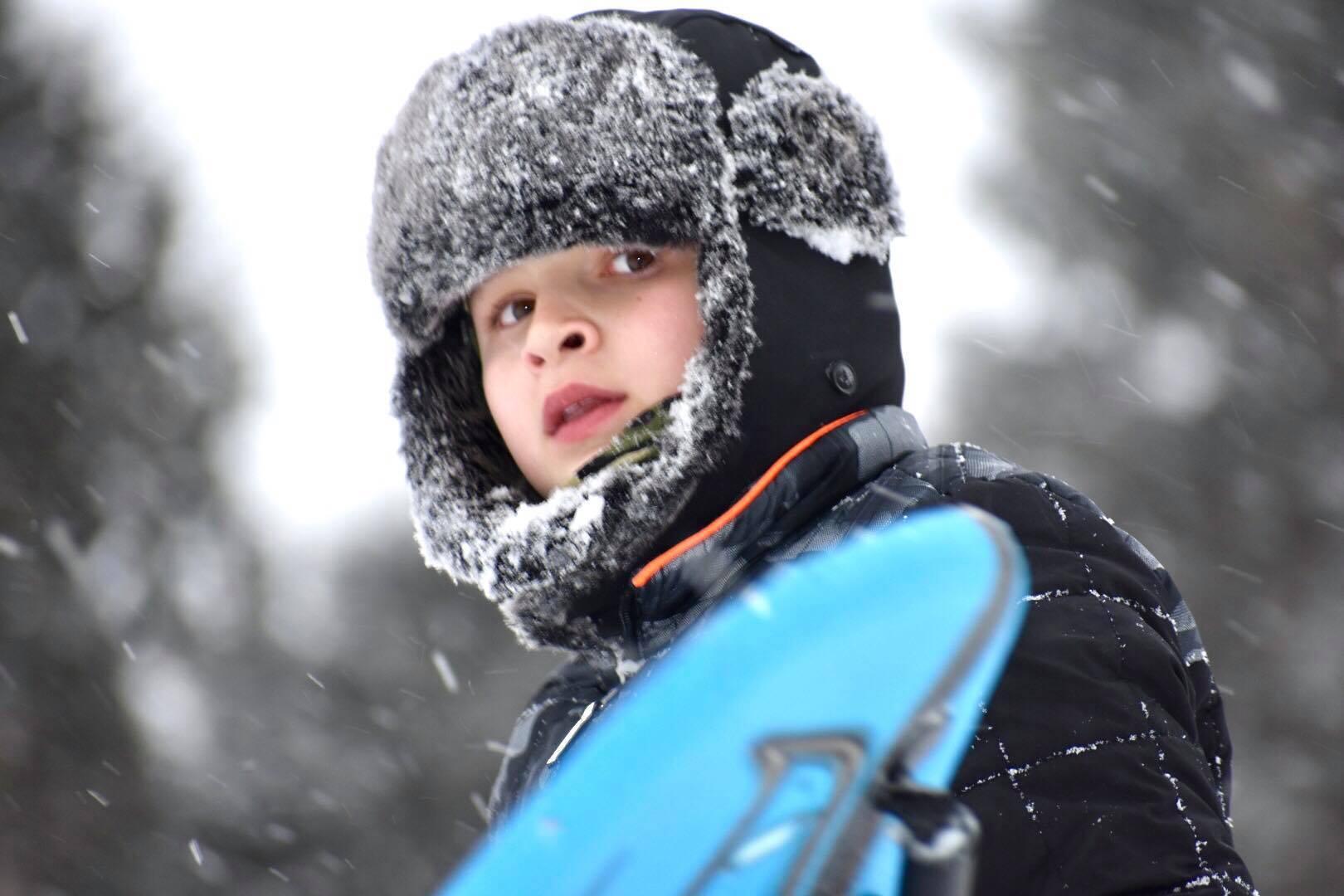 Kid enjoying the snow in Milwaukee