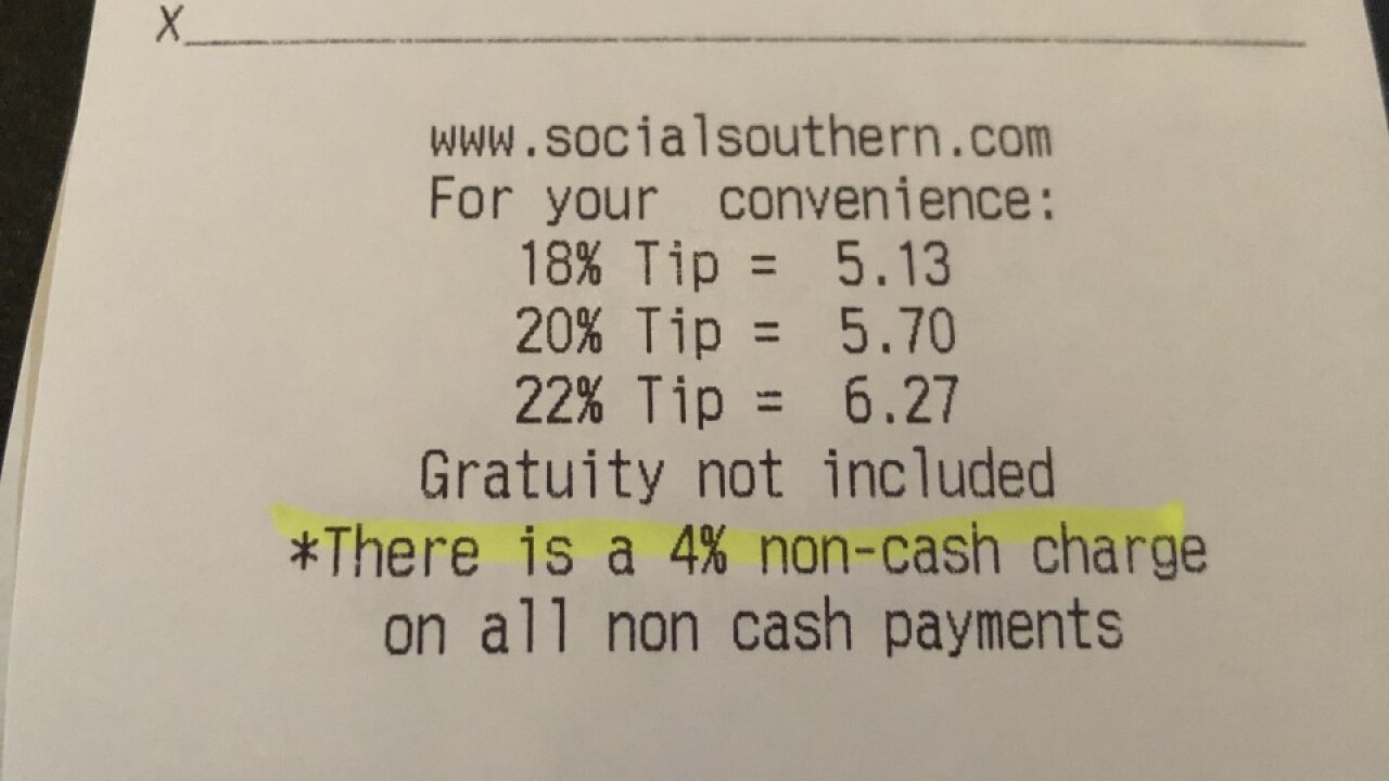 Some Local Restaurants Charging Fee For Credit Card Use