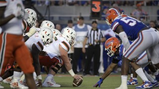 Miami Hurricanes offense lines up against Florida Gators defense in 2019