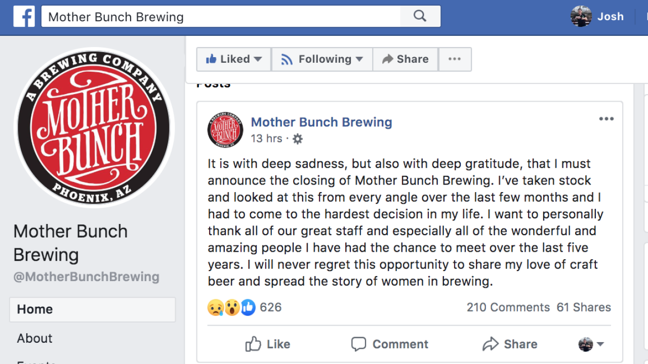 Mother Bunch Brewing Facebook closure announcement
