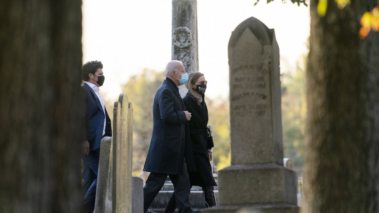 Biden visits son Beau's grave in Delaware on Election Day