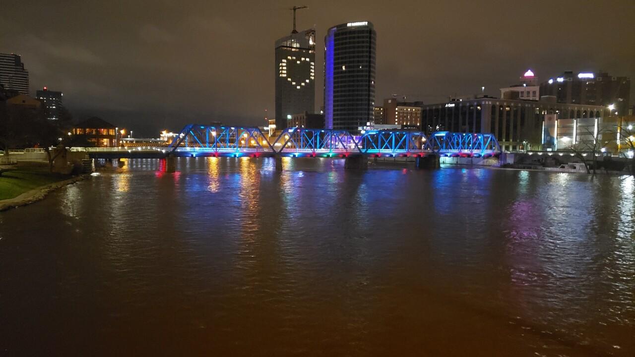 Amway Grand Plaza hotel lit up