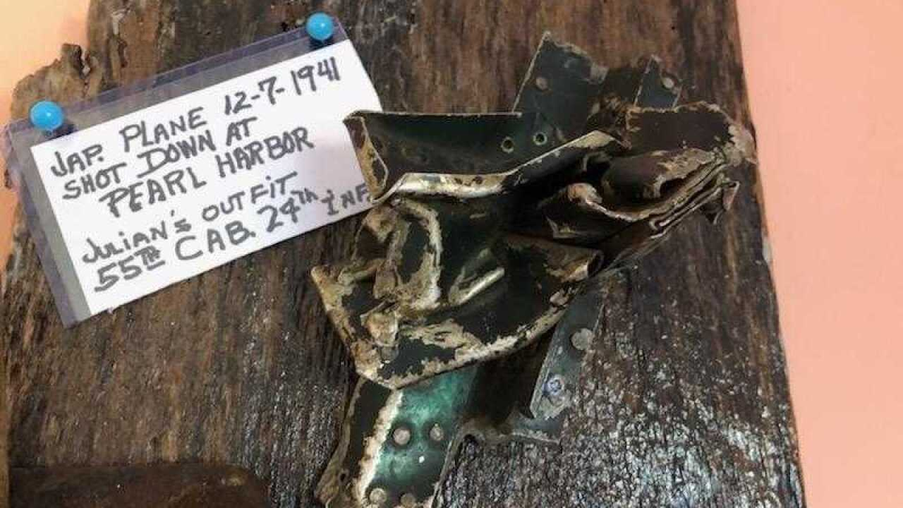 Piece of Japanese plane shot down on December 7th, 1941 during attack on Pearl Harbor