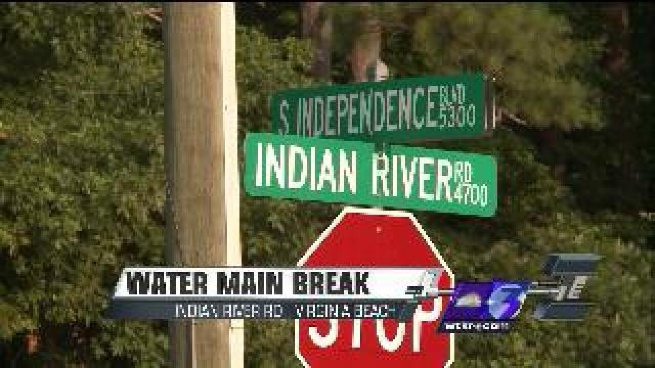 Water main break closes Indian River Road between South Independence and Stumpy Lake
